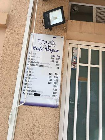 Cafe Vapor: Quelques tarifs