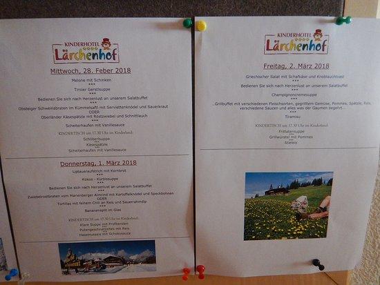 Kinderhotel Lärchenhof: menus proposés