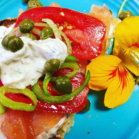 Millbrook, NY: Yummy small plate, smoked salmon, Jodie's English muffin bread, dill sauce!