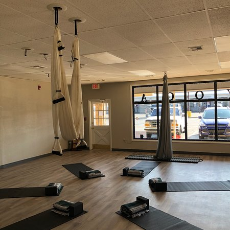 Midwest City, OK: Yoga options for everyone, kids yoga, aerial yoga and Brew flow with cold complementary beer.