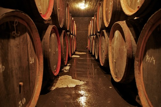 Beersel, Belgien: Our cellars feature chesnut port/cheese barrels, some of which are more than 100 years old.