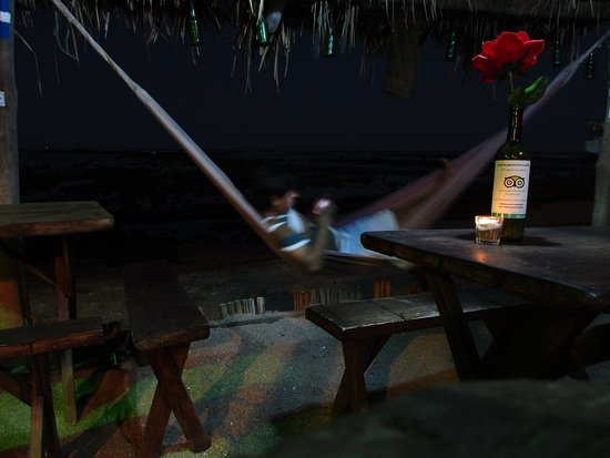 La Ballena Restaurant. Hammocks to rest and enjoy the beautiful starry sky of Los Cobanos