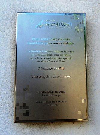 Barao De Cocais, MG : Placa da inauguração do Museu