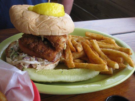 Crescent Beach, FL: The Key West Fish Sandwich & fries (Halibut)
