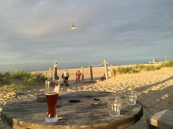Strandpaviljoen Kaap Noord: Uitzicht vanaf de banken ad oostkant, met uitzicht op Vlieland..