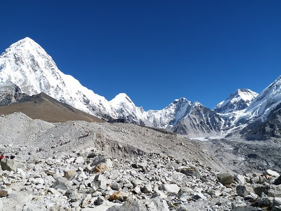 Kathmandu Valley, Nepal: Mt : Pumori on the way up to Everest Base camp with Khumbu Glacier .