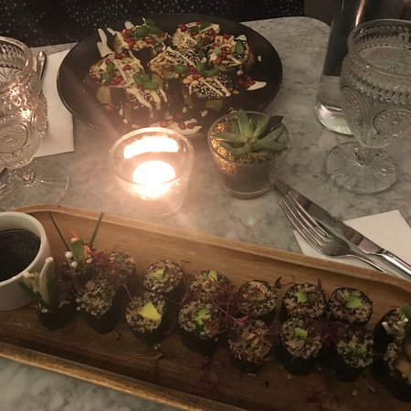 Mains - sharing platters of sushi and aubergine