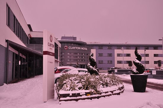 d6e1492e79024 view of snow filled carpark at main entrance. There is underground ...