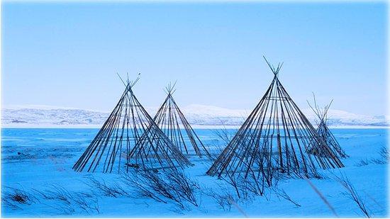 Финнмарк, Норвегия: Sami lavvu structures, Finnmark, Norway