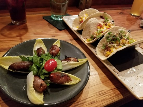 Glastonbury, CT: Proscuito wrapped dates and fish tacos