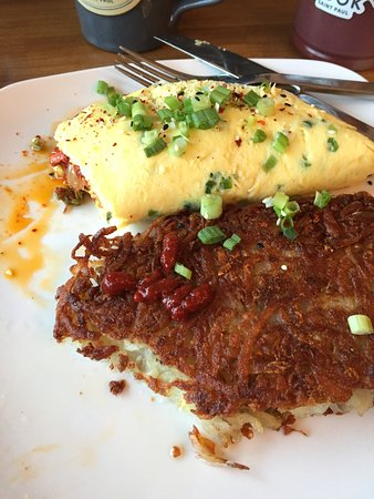 Korean Omelet with crispy hash browns