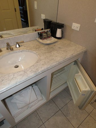 Small Refrigerator In Bathroom Under Counter Coffee Setup Above - Bathroom sink set up