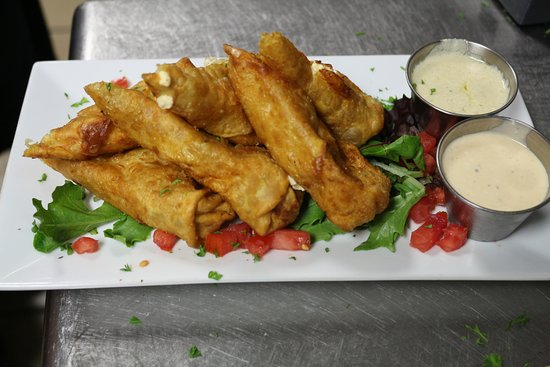 Kingsland, GA: Our most popular app is our Buffalo Chicken Roll. It is and stuffed in a spiced wrapper and frie