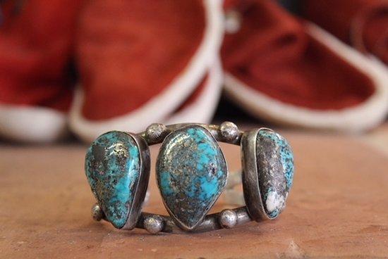 Mancos, CO: Vintage Navao Bracelet With Morenci Turquoise Circa 1950's