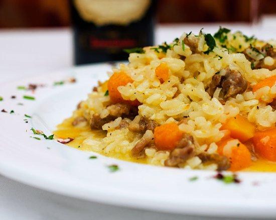 Pound Ridge, NY: Risotto alla zucca salsiccia // region of month secondo piatto: Veneto