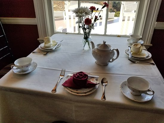 "Berryville, VA: A simple table setting with ""rose"" napkins"