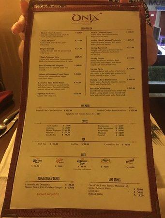 ONIX Restaurant Bar: ONIX Menu