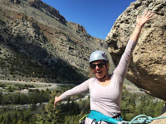 Wind River Climbing Guides: Kara enjoying a sunny day in Sinks Canyon!