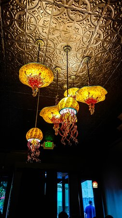 Jellyfish chandelier picture of cabezon restaurant portland cabezon restaurant jellyfish chandelier mozeypictures Choice Image