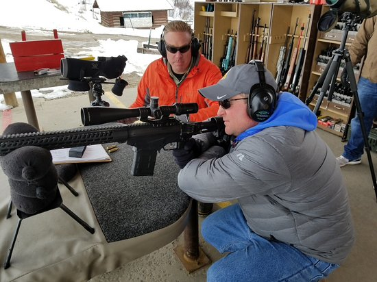 Jackson Hole, WY: Shooting at a target 600 yards away.