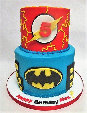 Flavor Cupcakery Bake Shop 2 Tier Superhero Themed Kids Birthday Cake