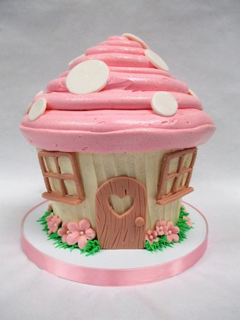 Cool Mushroom Cottage Whimsical Kids Birthday Jumbo Cupcake Cake Funny Birthday Cards Online Alyptdamsfinfo