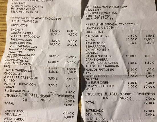 Benarraba, İspanya: Dos facturas, de dos noches distintas