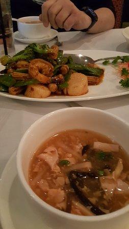 Saugus, MA: Hot Sour Soup and Rosie Shrimp & Scallops Jumbo shrimp & sea scallops sauteed with light vegetab