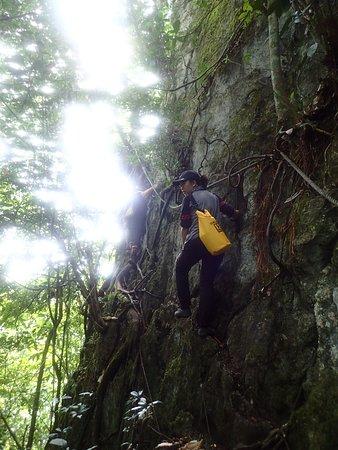 Sepulut, Malaysia: rock climbing with exposure
