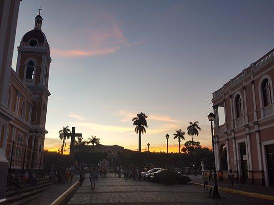 Granada, Nicaragua: central park at sunset