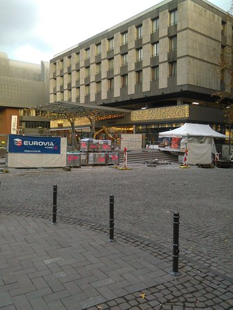 Hotel Mondial am Dom Cologne MGallery by Sofitel: some work being done at front of hotel on footpath.
