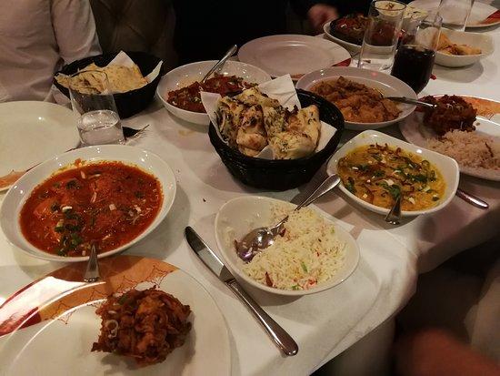 Datchet, UK: Chicken Madras, onion bhaji, garlic naan bread, pilau rice, lentil dish and duck dish too.