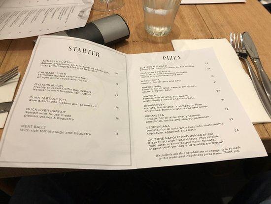 Cooroy, Australia: menu