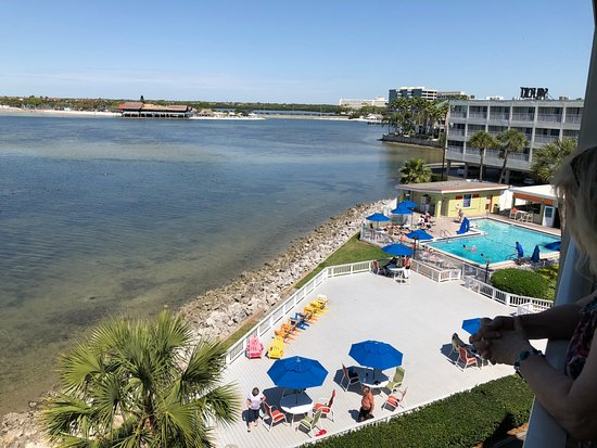 Beach Area Overlooking Tampa Bay At Rocky Point Wonderful Sailport Waterfront Suites Beautiful View Of The Pool From 4th Floor Room Balcony