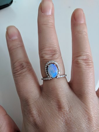 Opal Minded: Fiona was the amazing salesperson who sold me the opal. I had the unique ring setting made.