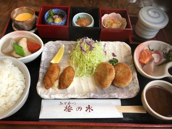 Misokatsu Umenoki: みそかつとカキフライの定食.