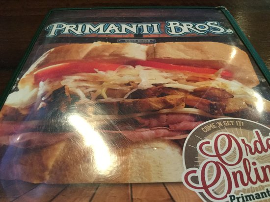 Grove City, PA: Primanti Brothers (menu).