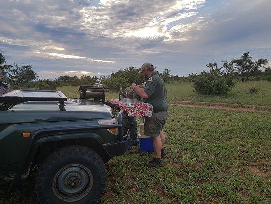 Timbavati Private Nature Reserve, Güney Afrika: Vorbereitung für Kaffee etc beim morgendlichen Gamedrive