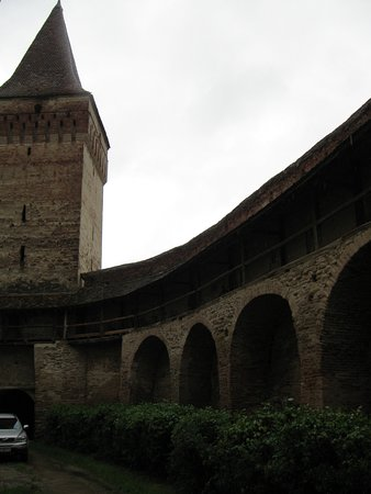 Villages with Fortified Churches: Mosna Fortified church - gate tower and inner view of the inner curtain wall
