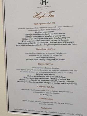 Medlow Bath, Australia: HIGH tea menu