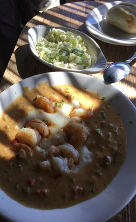 Felix's Fish Camp Grill: Shrimp & grits with cole slaw (the best slaw you will EVER eat)