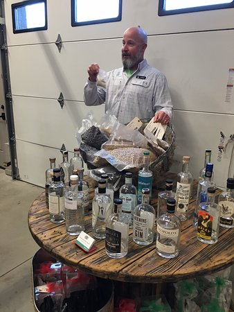New World Distillery: Chris giving tour and info about ingredients in their gin.