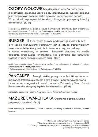 Elk, Poland: MENU MARZEC - KWIECIEŃ