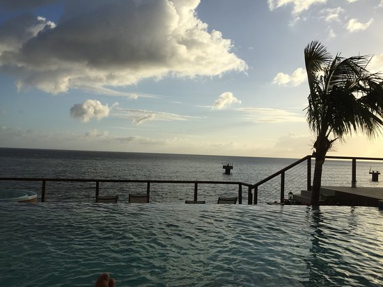 Fort Young Hotel: The infinity pool and the Caribbean sea