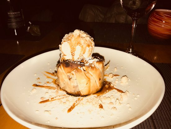 Brandl: Pastry Encrusted Apple with Bourbon Ice Cream and drizzle with Bourbon Sauce