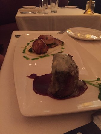 The Capital Grille: Tenderloin and scallop entree.