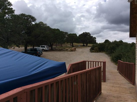 Timberon, NM: Side deck view, horseshoe tournaments throughout the summer