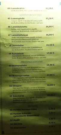 Butzbach, Germany: Speisekarte