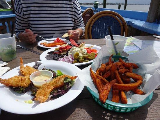 Lantana, FL: Coconut prawn with chilli Thai style dip. Mail and Wahoo fish dip. Sweet potato fries.