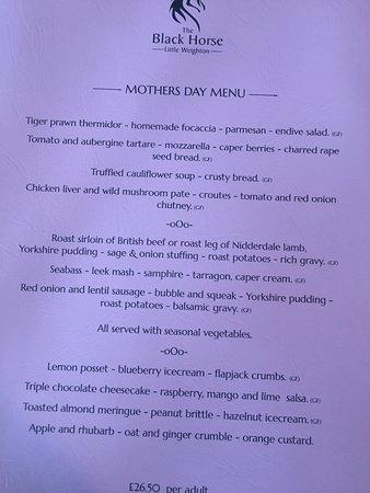 Little Weighton, UK: mothers day menu